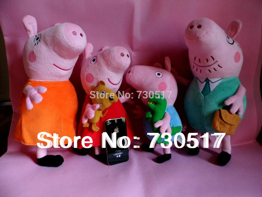 Tamanho Grande Peppa Pig Plush Dolls Família set brinquedos Papai Pig 38 centímetros Mummy Pig 38 centímetros 28 centímetros George Peppa 32 centímetros 4pcs / set presentes dos miúdos(China (Mainland))