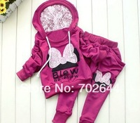 Retail 1set New  Baby Clothing Set girls sport suit  2piece Baby Garment Butterfly Sets,1 set