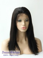 Top Quality human hair silky straight lace front wig Brazilian hair for black women, free shipping