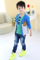 HOT SALE Free Shipping Cotton autumn and spring boys clothing Leopard Pocket Fashion cardigan children clothing boys clothes