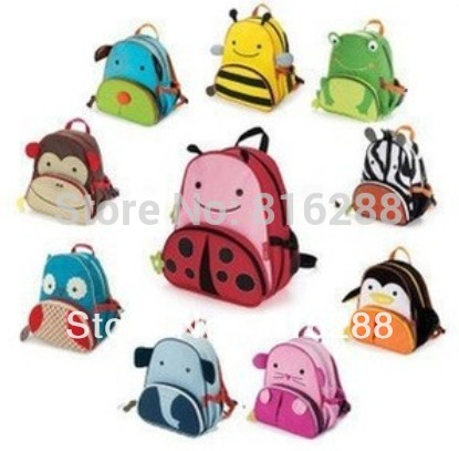 Canvas double-shoulder kindergarten school bag kids cartoon school bag animal backpack zoo pack for children(China (Mainland))