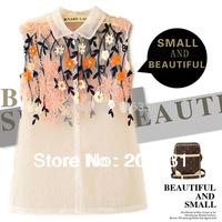 New fashion womens' sexy  collar Blouse Shirt Vintage sleeveless blouse elegant casual brand designer tops