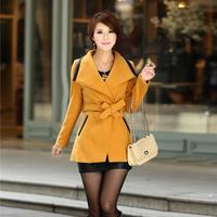 2014 Winter New Arrival Elegant Slim Plus Size Woolen Jacket With Belt 4 Colors 1010