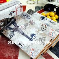 Fashion Europe Retro Style Eiffel Tower Women's Wallet Big Ben Covered Button Card Slot Package Handbag Purse Free Shipping