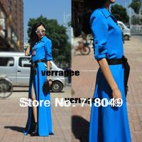 Free Shipping 2013 Fashion Vintage Slim Floor Length Full Dress Plus Size Turn-down Collar Long Sleeve Split Dress S/M/L/XL/XXL