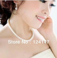 Free Shipping AQ Fashion cheapest Chain Necklace Simulated Round Pearl Necklace Bridal Jewelry Wedding Gifts cheapest Price
