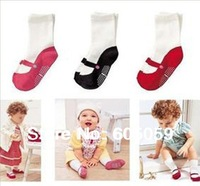 Cute cartoon baby ballet socks cotton kids socks anti slip 0-2 years 6 pairs lot mixed color hot selling new uc069