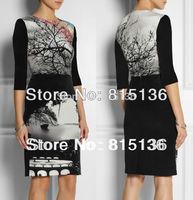 [SALE] WORLWIDE FREE SHIPPING 2014 New Half Sleeve O-neck Printed Dress Fashion Aesthetic Print Slim One-piece Dress KC234