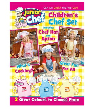 children apron with hats  baby drawing  kids kitchen chef apron with hat white pink blue color