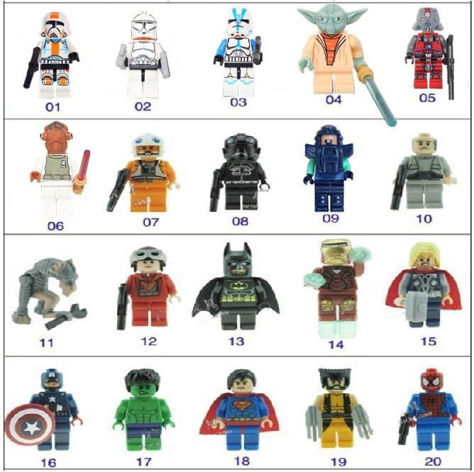 Classic toys 20 PCS Lot Minifigures Super heroesToy Batman Iron Man THOR/X-MAN Star Wars Building Toys Educational Blocks(China (Mainland))