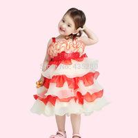 New 2014 Retail Children's Christmas Dress Hot Rose Girl Princess Party dresses chiffon Ruffles Dresses for Kids clothing