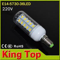 KingTop E14 Led Lamps 220V Corn Bulbs 5730 36LEDs Light Candle crystal chandelier 11W Energy saving Lighting 10pcs/lot