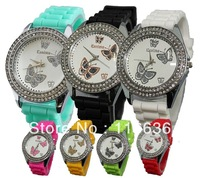1pc Butterfly Rhinestone women watch Geneva like bling Crystal Diamond Brilliants silicone wristwatch casual dress new 2013
