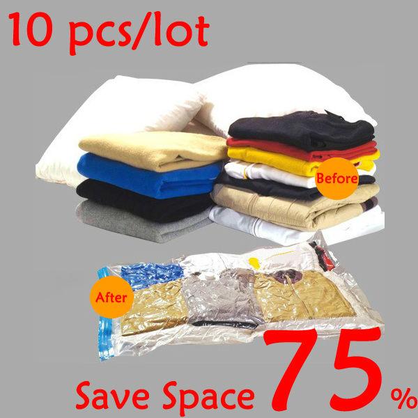 10 pcs/lot Wholesale Home Saving Space Saver Storage Bag for Clothing/Bedding,Vacuum Seal Compressed Bag,60-100 cm,Free Shipping(China (Mainland))