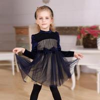 2014 new arrival autumn winter long-sleeve velvet elegant purple tulle children princess dress with big bow knots high quality