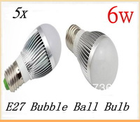 Free shipping 5pcs/lot Dimmable Bubble Ball Bulb AC85-265V 6W E27 High power Globe light LED Light