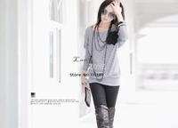 New Korean Stylish Women's Fashion Small Batwing T-shirt Autumn Flower Long Sleeve Shirt 7159