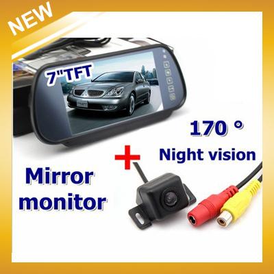 """free Shipping , Car Rear View Kit Reversing 170 Degree Parking Backup Camera+7"""" Tft Lcd Mirror Monitor(China (Mainland))"""