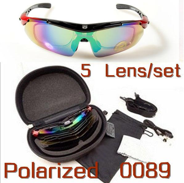 Free Shipping Brand Outdoor Sports Cycling Bike Bicycle Riding Fishing Sunglasses Sun Glasses Goggle Eyewear -5 Lens 1 Polarized(China (Mainland))