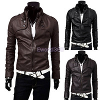 Free Shipping 2014 New Winter Mens Standing Collar Pu Leather Slim Fit Jacket Coat Outwear  Black/Brown S--XXL