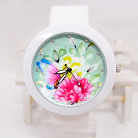 High quality vogue Butterfly Cartoon Silicone strap watches children women ladies rhinestone dress wristwatch C-12