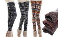 Ladies Winter Knitted Xmas Fair Isle Tribal Aztec Printed with Fleece  Warm Cotton Legging  Bottoms Pants    20 DESIGN