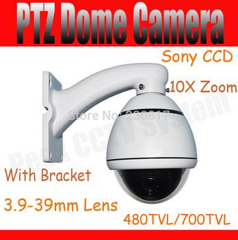 """High Speed PTZ Dome Camera 10X Zoom 256 Presets 4"""" PTZ Dome 480TVL 700TVL SONY CCD 200 Degree/S Rotation Speed OSD English Menu"""