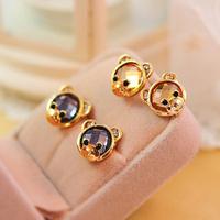 P 0720 FREE SHIPPING!!! Best Price Best Selling Lovely Cute Bear Stud Earring  Crystal Earring For Women