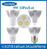 12pcs/lot 9W E27/E14/Gu5.3/Gu10/Mr16 85-265V CREE CE Warm/Pure/Cold/White 810LM High Power LED Lamp/Spot lighting