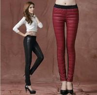 Free shipping 2014 new autumn and winter candy colors big size,xl,xxl,xxxl women's warm pants Down pants Thin Slim pencil pant