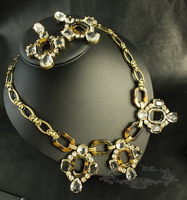 2013 fashion new arrival JC Luxury Jewelry Vintage Tortoise Crystal Cluster Statement Necklace OEM