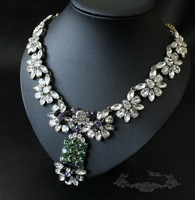 2013 fashion new arrival JC Luxury Jewelry Vintage Flower Crystal Cluster Statement Necklace OEM wedding party