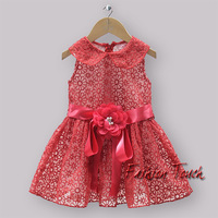 2014 New Year Girl red rose flower Dresses cotton and lace costume for kids dress  for girls ready in stock GD30828-4^^LM