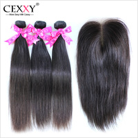 Peruvian Virgin Hair Straight With Closure 4Pcs Lot For A Full Head,Shipping Free By DHL or UPS