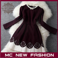 2013 Winter High-end Women's New Lined Hollow Pleated Skirt Beaded Collar Long-sleeved Slim Dress #4540 Retail & Wholesale