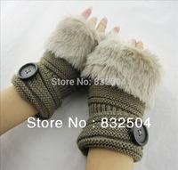 Free shipping  Fahsion women's knitting wool rabbit fur hair gloves & mittens  with botton
