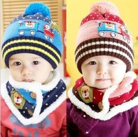 Min order $ 10 Christmas gifts new fashion 2014 children's winter warm baby Christmas tree car baby two-piece hat and scarf