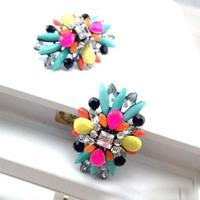 Europe Vintage Style 2014 Trendy  Women Charms Stud Earrings Crystal Rhinestone Flower Jewelry