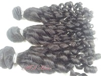 "3 Bundles Malaysian Virgin Hair Weft Spring curly16""-24"" human hair extension free shipping"