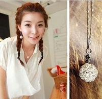 P 2098 free shipping trendy lady pendant necklace hollow ball korean style link chain