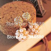 J0082 FREE SHIPPING!!! 2014 Fashion Sparkling Rhinestone Pearl Pendant Ball Stud Earrings For Women