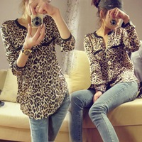 New fashion Women Casual Wild Leopard Long-sleeved t shirt chiffon Top Blouse S/M/L loose plus size V neck blouse Free Shipping