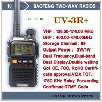 BAOFENG TWO-WAY RADIOS 3W  VHF/UHF Dual Band dual Display Portable Transceiver Bao Feng UV-3R+ Free Shipping
