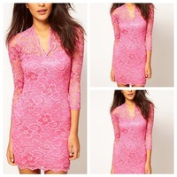 Dropshiping 2013 Sexy Womens Sexy Pinup Bodycon Fit V-Neck Cocktail Party Lace Mini Dresses Free Shipping