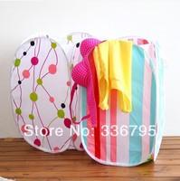 Free Shipping Folding Cotton Prints Dirty Clothes Storage Basket Portable 7382