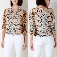chic sexy long sleeve v-neck tiger print shirt blouse