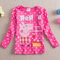 Free shipping Retail Brand Nova Pink Print Dots Baby Clothing peppa pig embroidered Cotton Long sleeve t shirts for girls 2-6Y