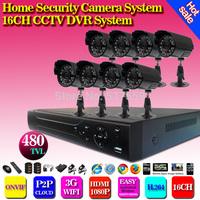 Home CCTV Security 16CH H.264 Network DVR Camera Video system 8pcs Day Night Waterproof Camera H.264 DVR DIY Kit ,HDMI,3G,WIFI
