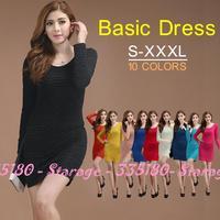 Elegant candy color slim all-match bubble basic women pencil dress one-piece dresses 2014 Spring Autumn fashion clothes 480