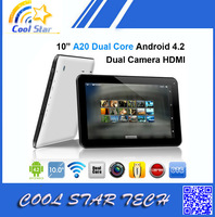 DHL Free Shipping Allwinner A20 Daul Core Tablet PC 10 Inch 1024*600 HD Capactive Screen Android 4.2 1GB/8GB Dual Camera HDMI